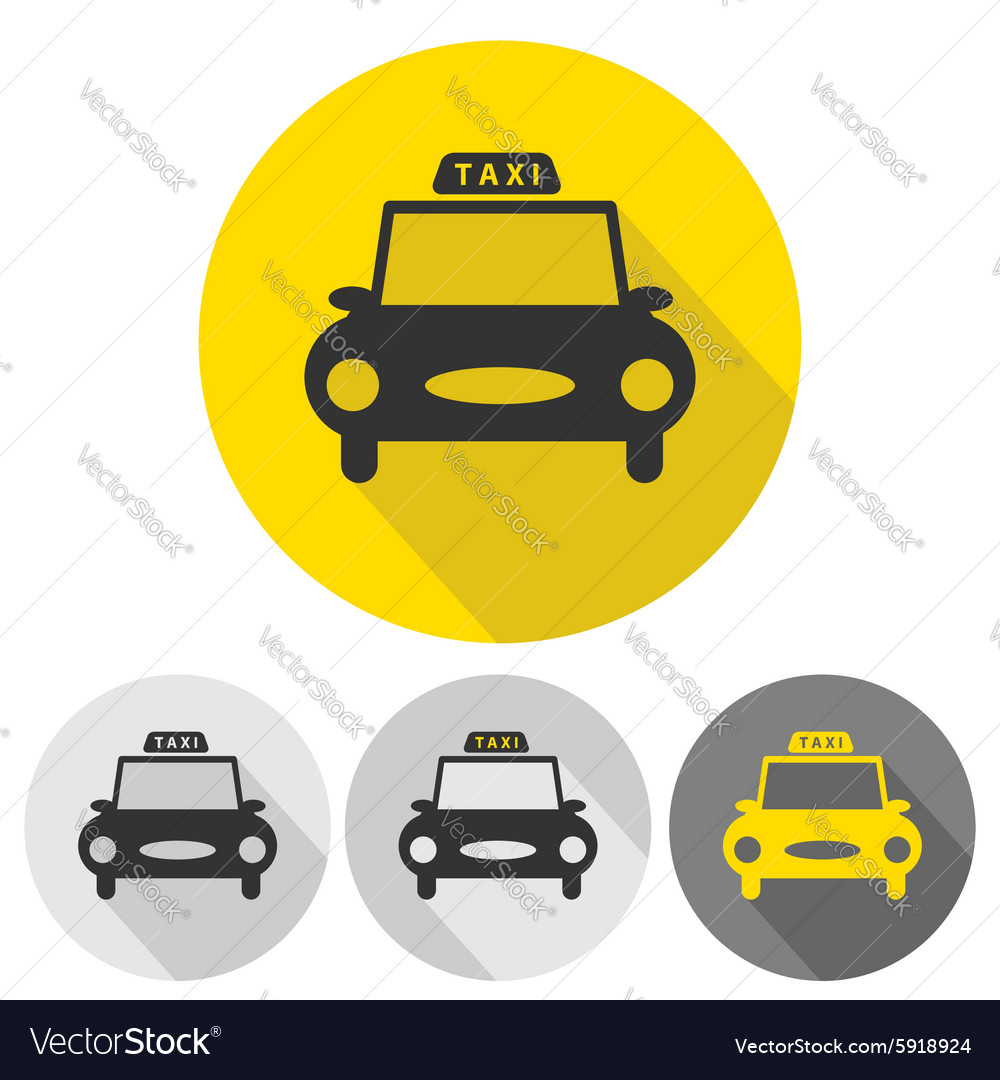 Taxi car flat icons set vector image