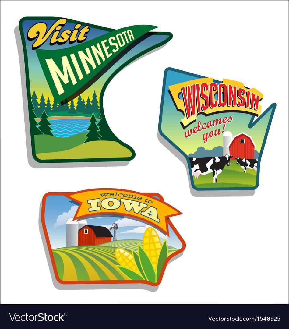 Minnesota Wisconsin Iowa vector image