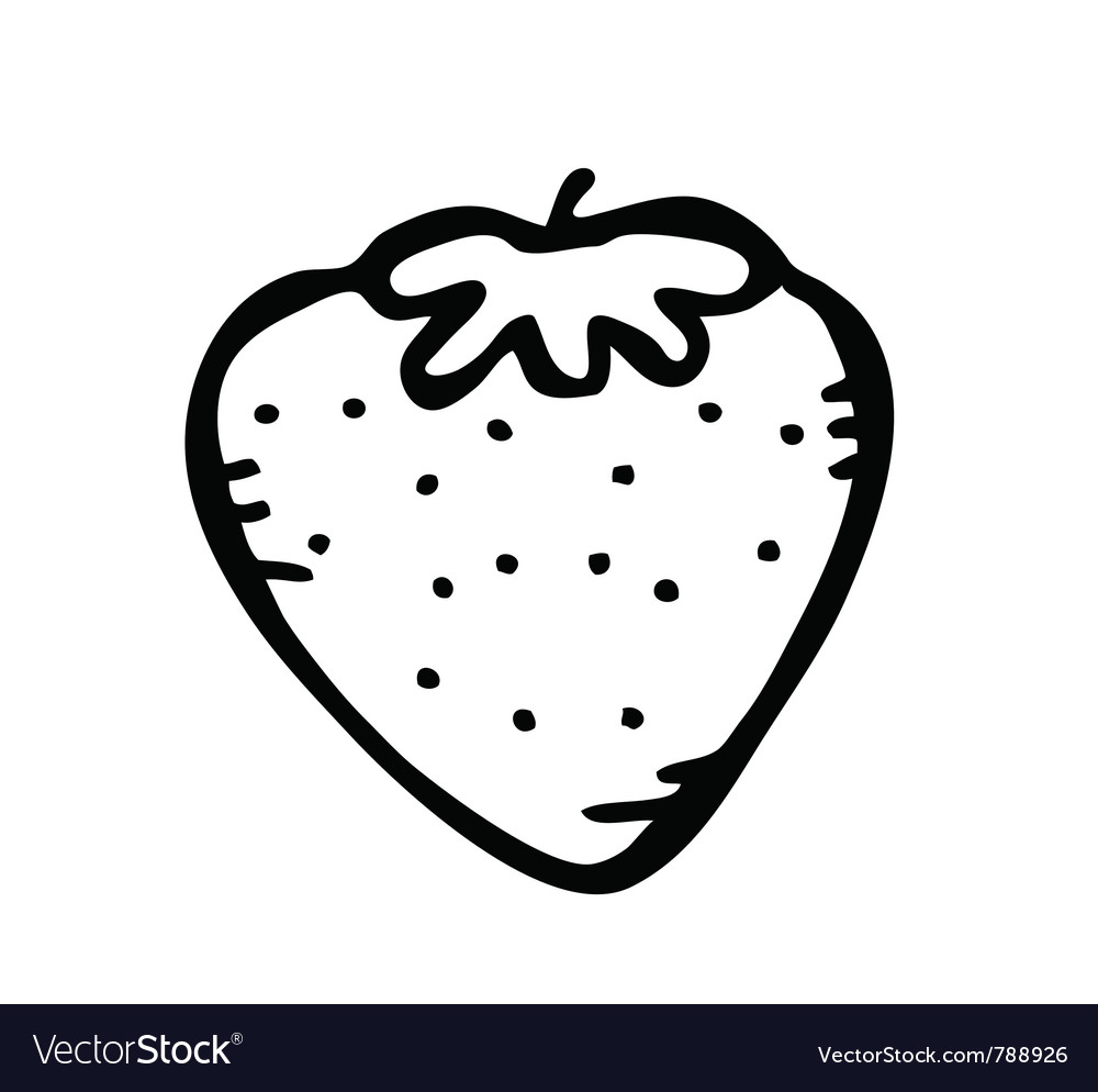 Strawberry doodle Royalty Free Vector Image - VectorStock for Clipart Strawberry Black And White  49jwn
