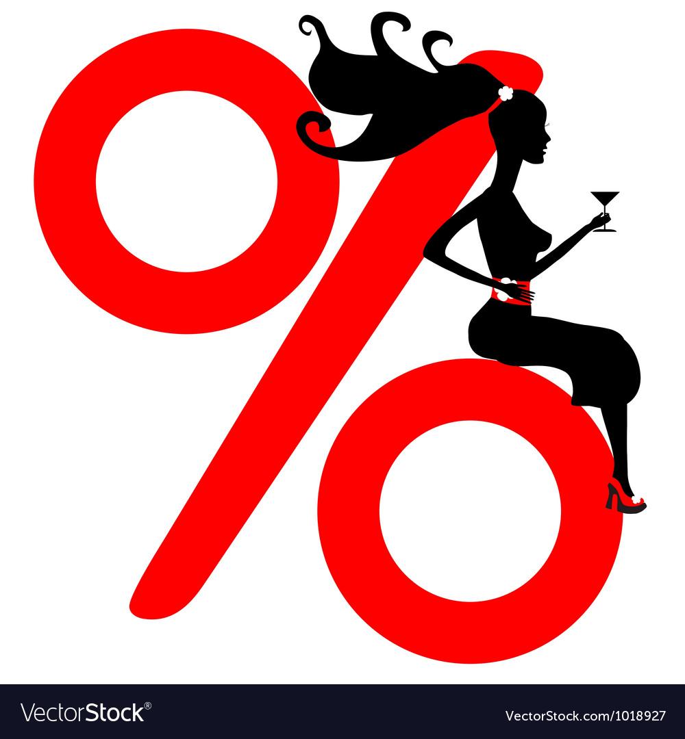 Shopping girl seasonal sale silhouette vector image