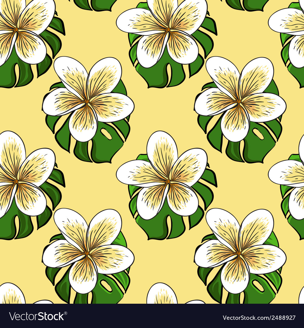 Tropical banana flovers and Monstera leaf seamless vector image