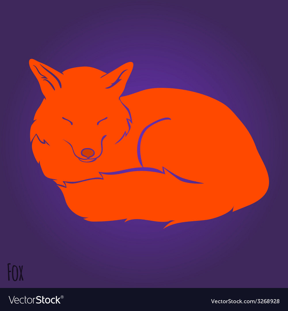 Red sleeping fox silhouette vector image