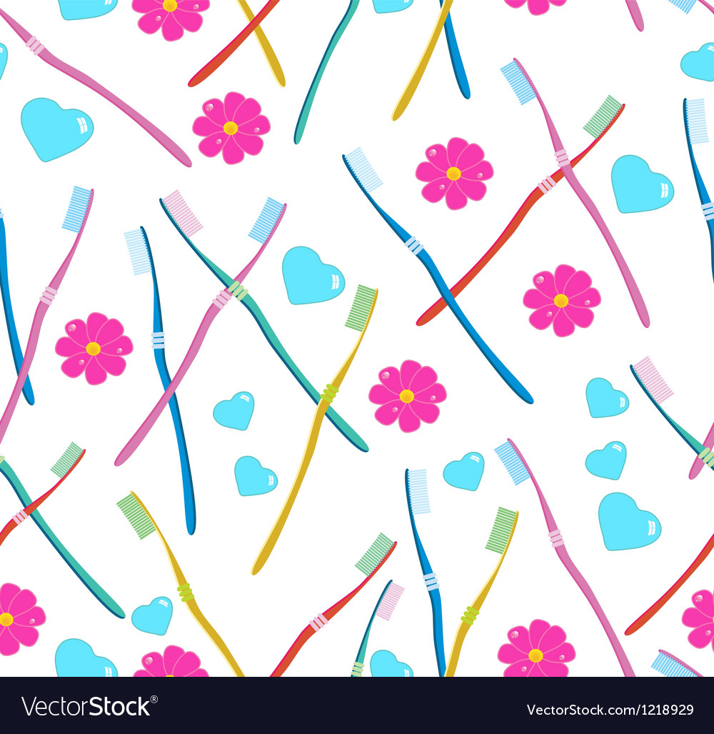 Seamless pattern with Tooth brush vector image