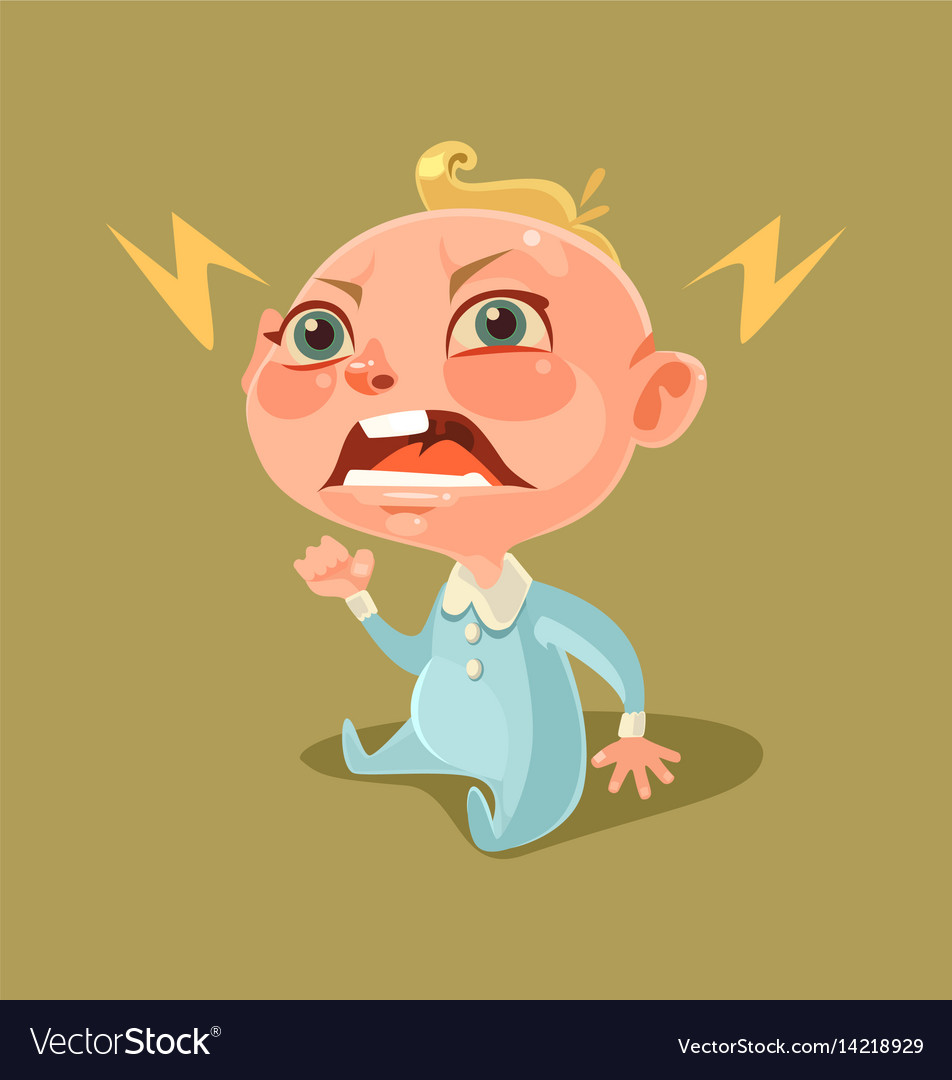 Angry unhappy naughty little child character vector image