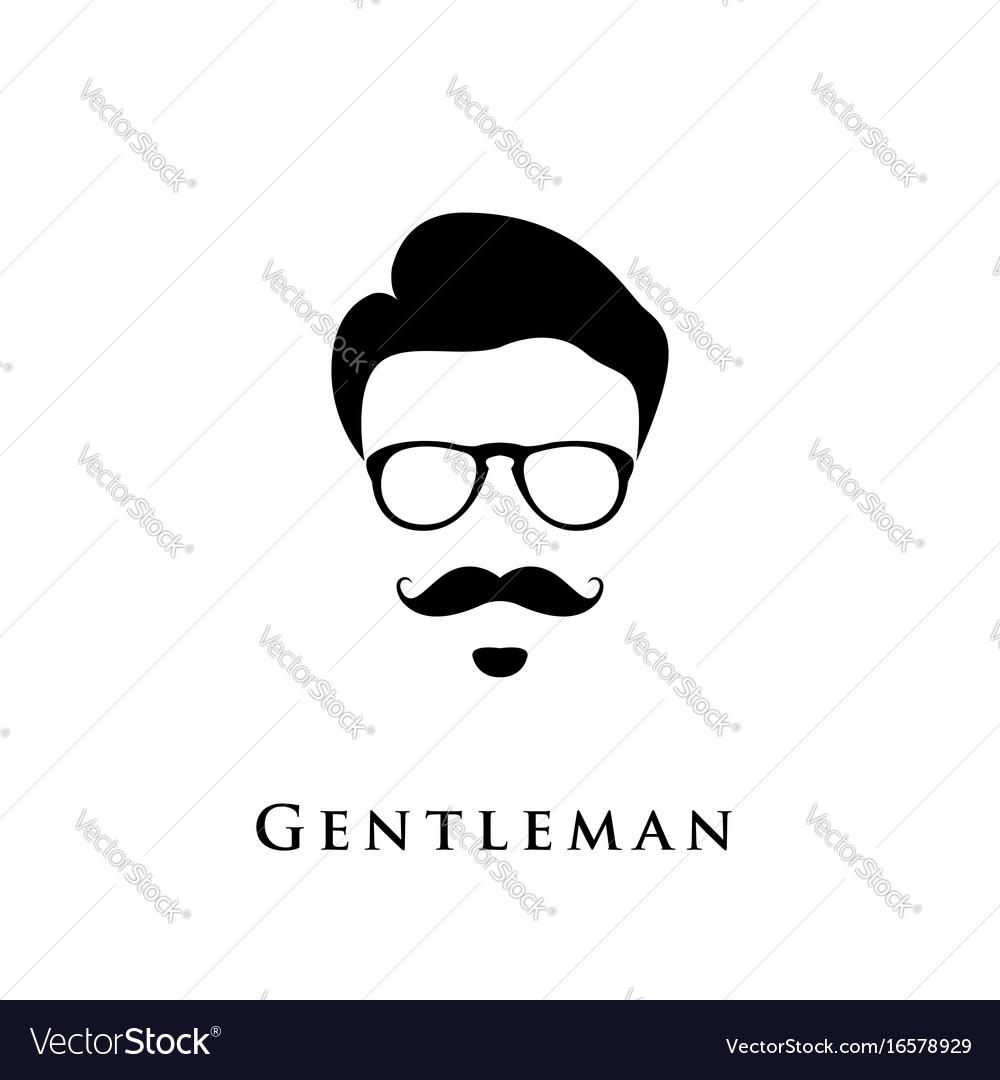 Gentleman portrait man with hairstyle mustache vector image