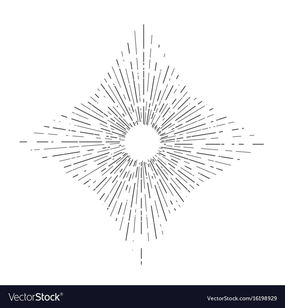 Retro sun bursts vintage radiant sun rays shape vector image