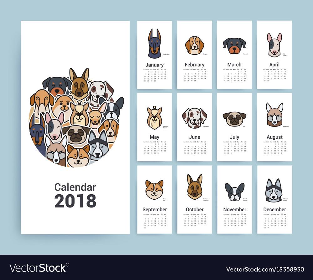 design template calendar 2018 royalty free vector image. Black Bedroom Furniture Sets. Home Design Ideas