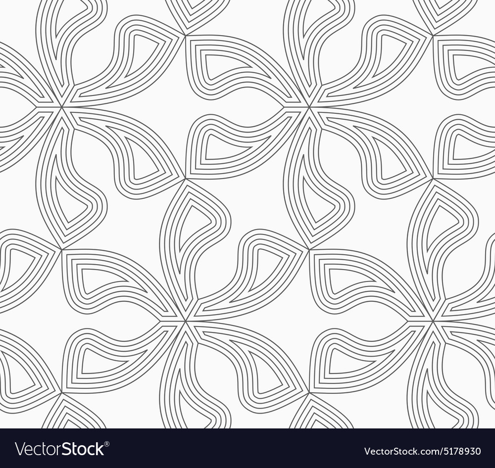 Slim gray six pedal flowers with offset vector image