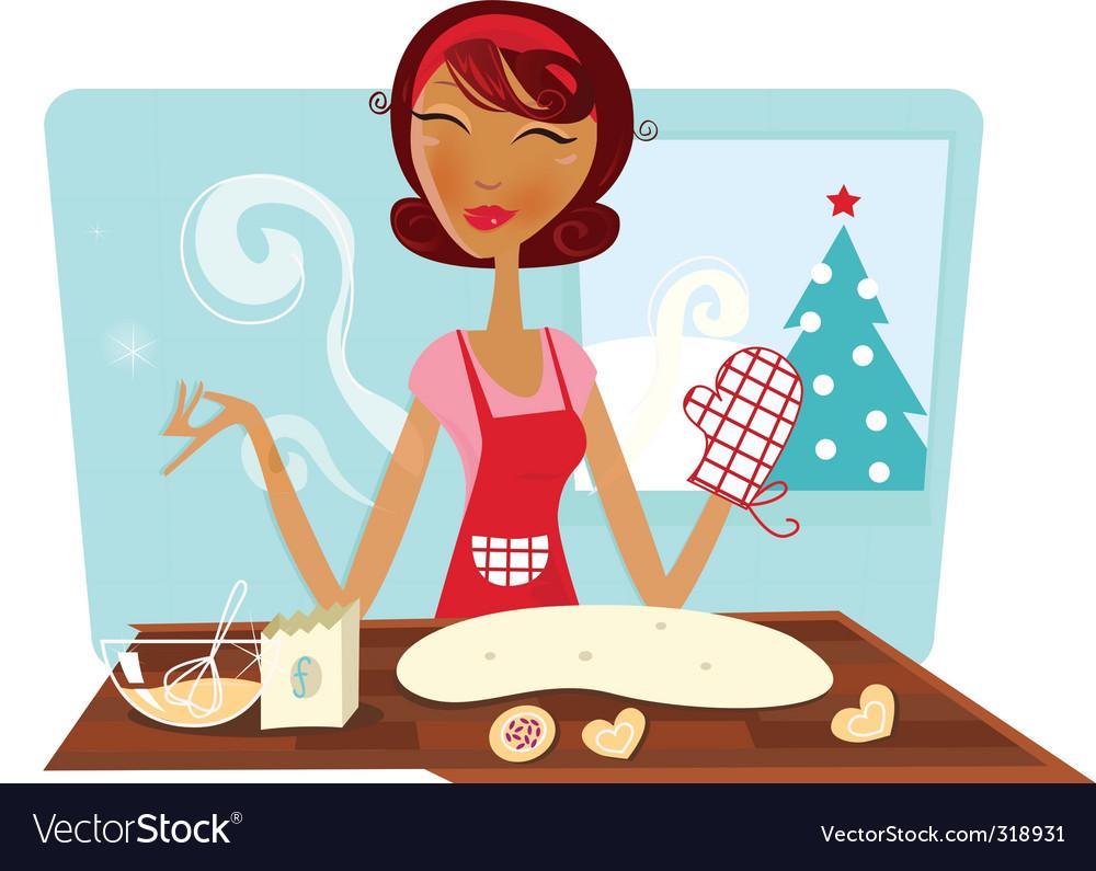 Christmas woman baking cookies vector image