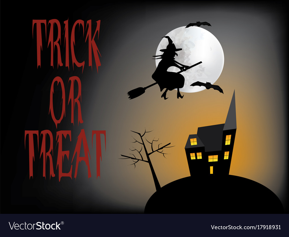 Halloween card with haunted house and flying witch vector image