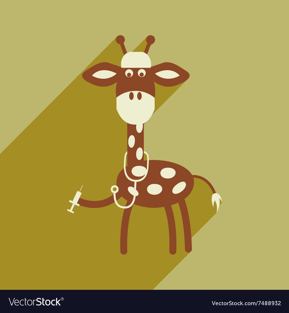 Flat icon with long shadow giraffe cartoon