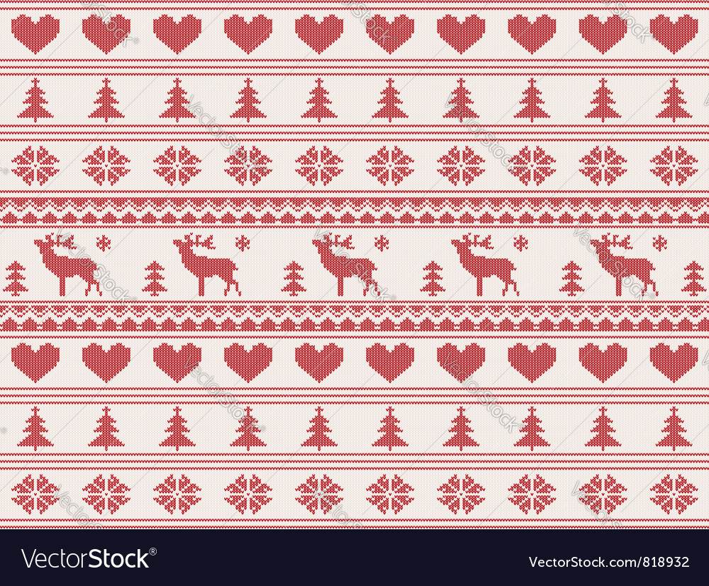 Knitted christmas pattern vector image