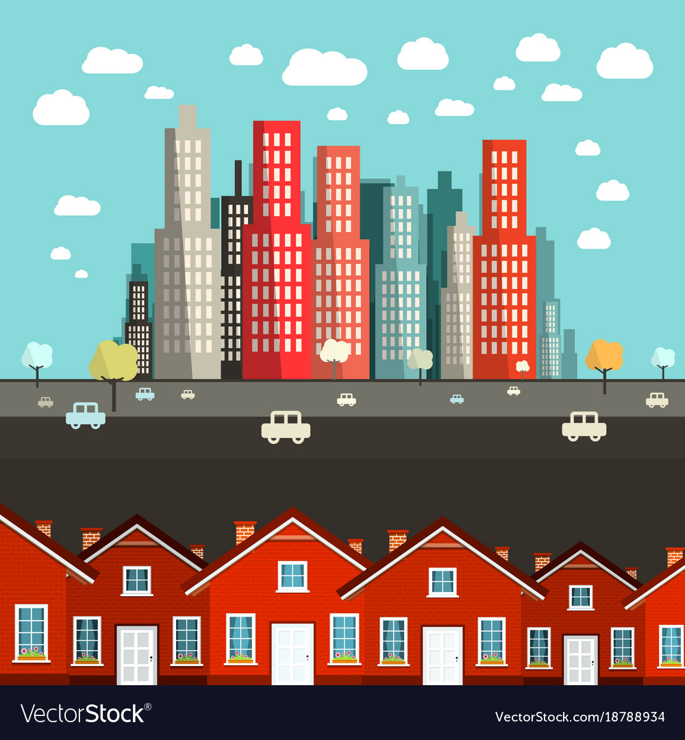 Houses with city on background - vector image