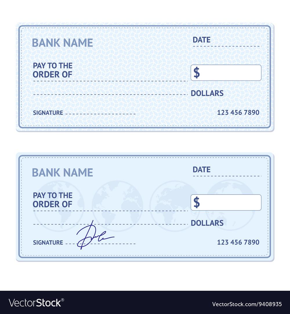 Bank Check Template Set vector image