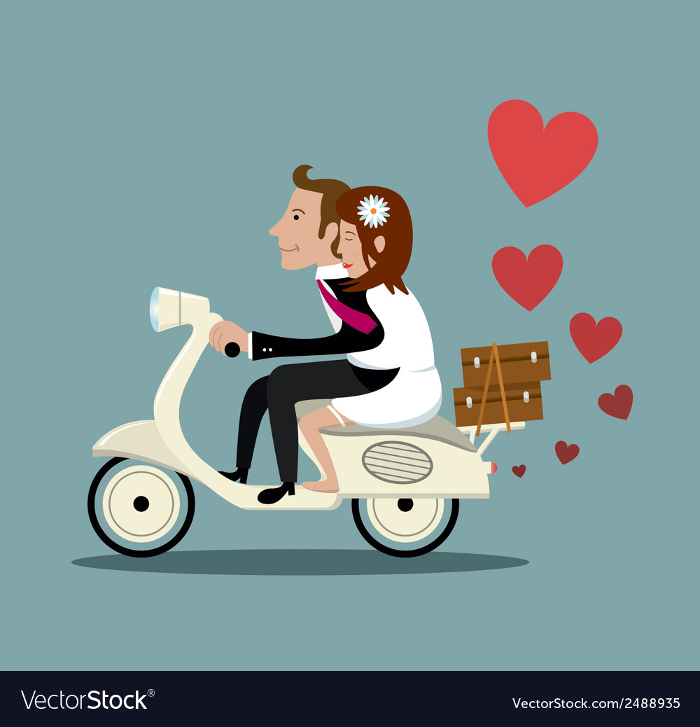 Happy Married Couple On A Moped Royalty Free Vector Image