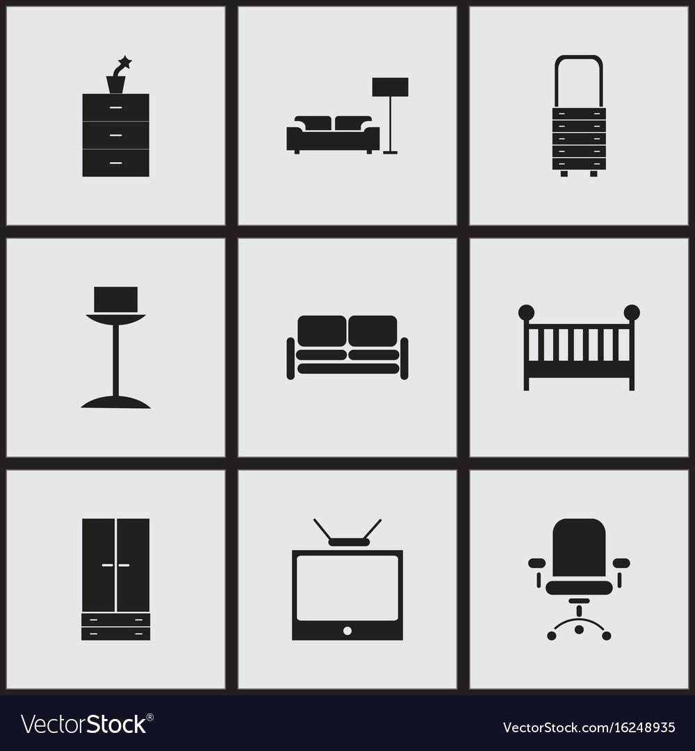 Set of 9 editable interior icons includes symbols vector image