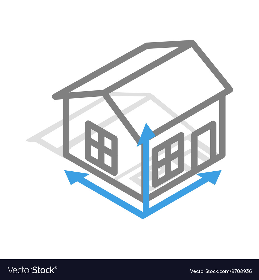 Perfect House Drawing Icon Isometric 3d Style Vector Image