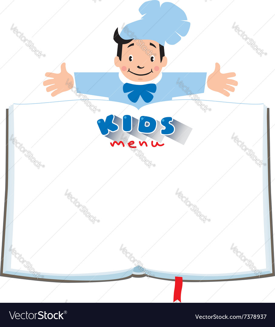 Design template for Kids Menu with funny cook boy Royalty Free – Kids Menu Template