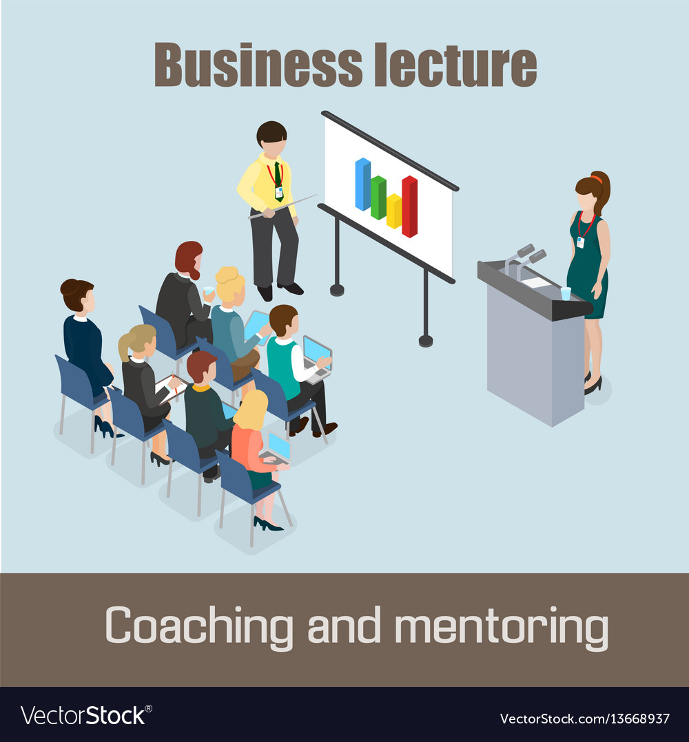 Business lecture coaching and mentoring concept vector image
