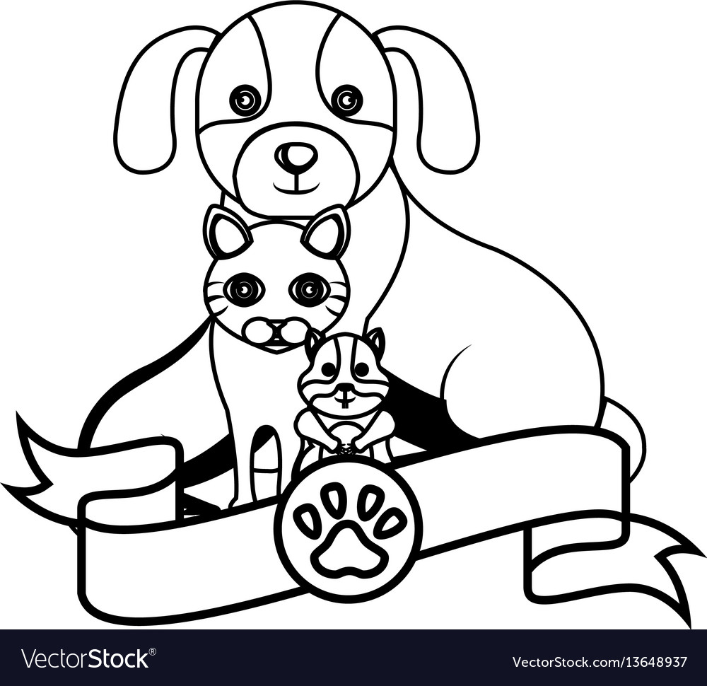 Mascots group veterinary center vector image