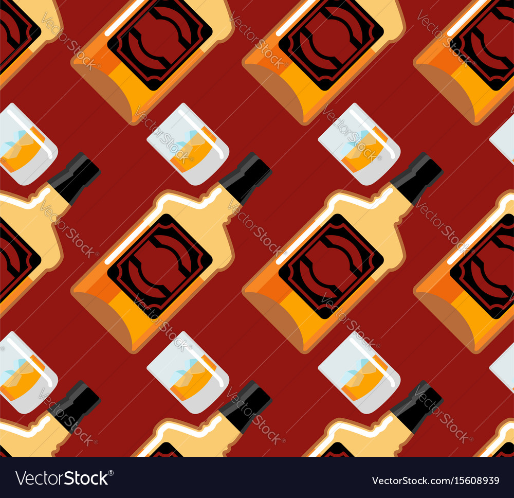 Bottle scotch seamless pattern glass of whiskey vector image