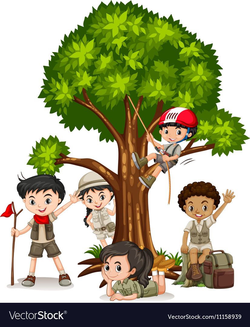 Boys and girls climbing tree vector image
