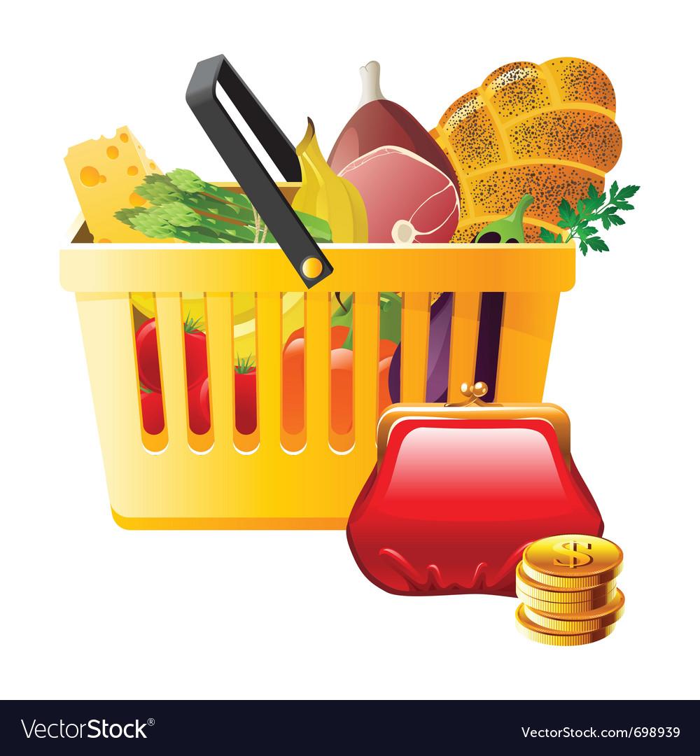 Full shopping basket and wallet - saving money vector image