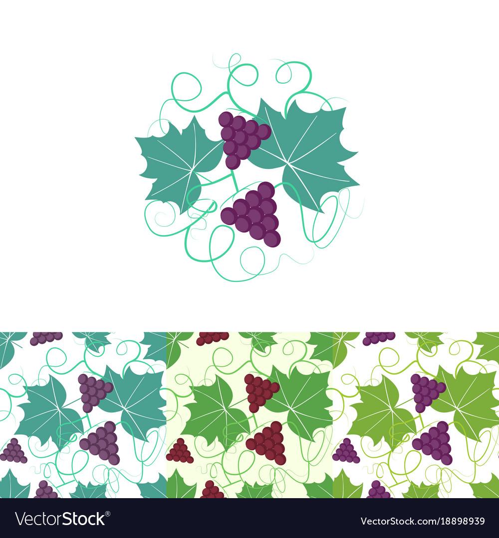 Grape circle logo and seamless pattern vector image