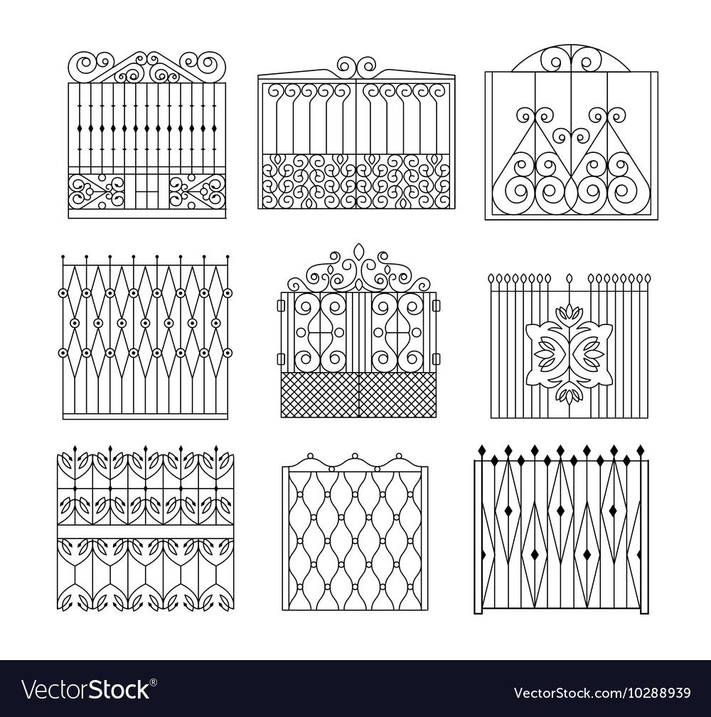 Metal Grid Fencing Set Of Different Designs vector image