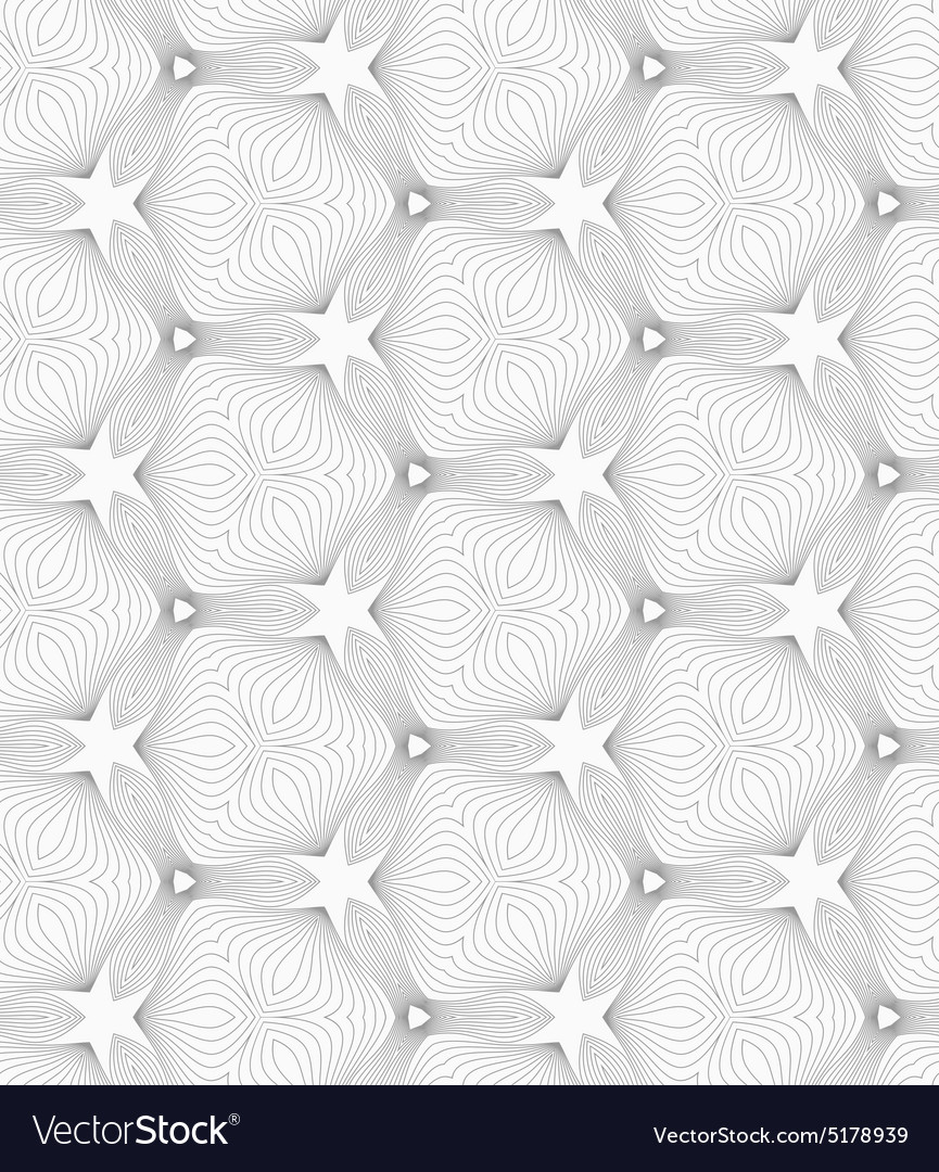 Slim gray small hatched trefoils forming stars vector image