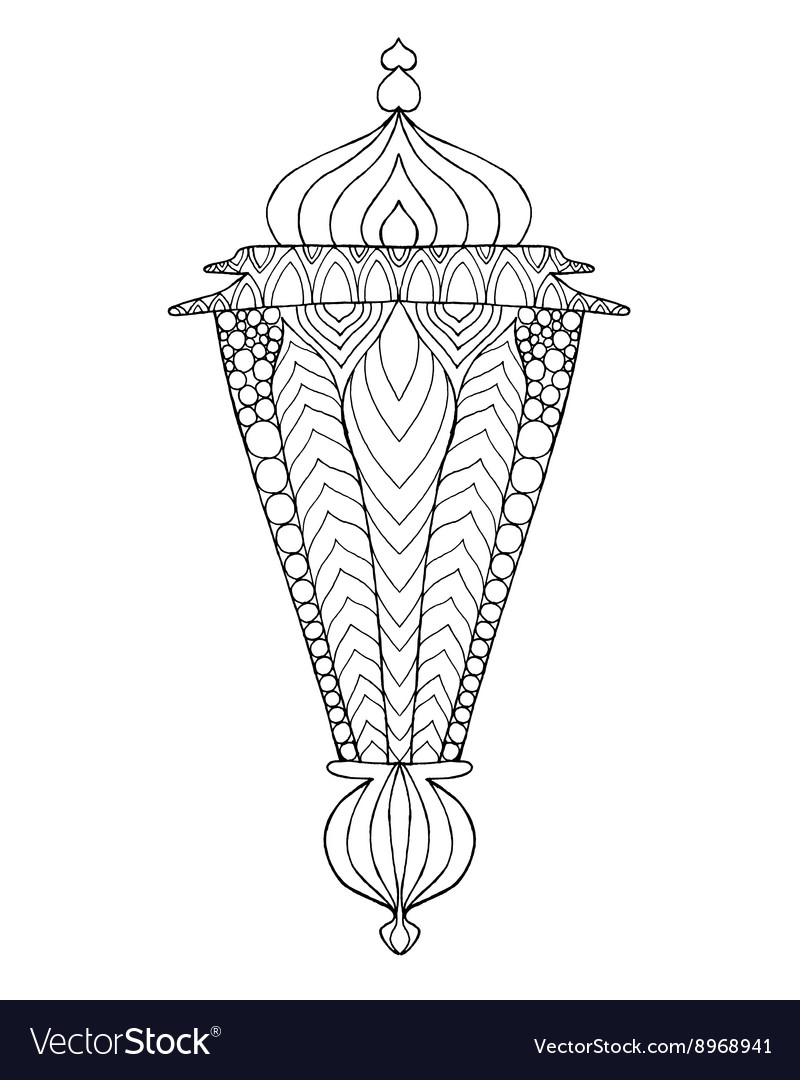 Hand drawn traditional lantern of Ramadan Vector Image for Ramadan Lamp Drawing  157uhy