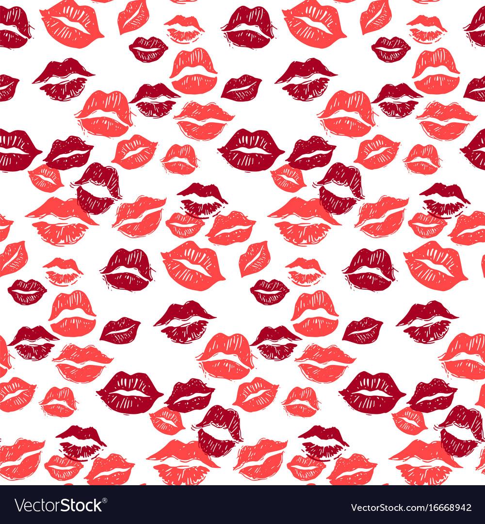 Kiss marks seamless pattern grunge hand drawn vector image
