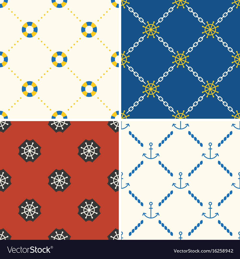 Navy and nautical seamless pattern theme set 5 vector image