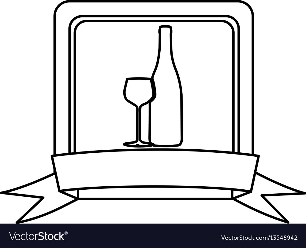 Silhouette square frame with ribbon and glass cup vector image