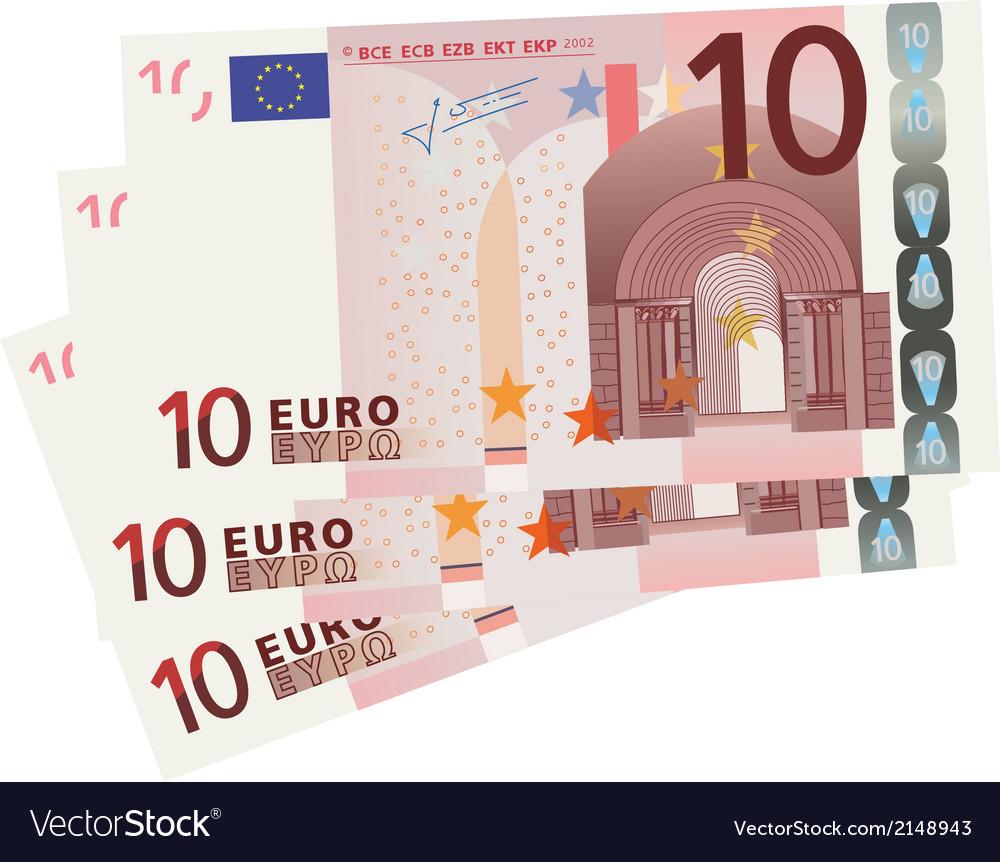 10 Euro bills vector image
