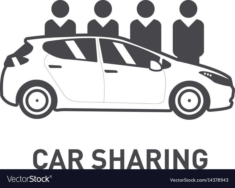 Car sharing group of people behind car flat vector image