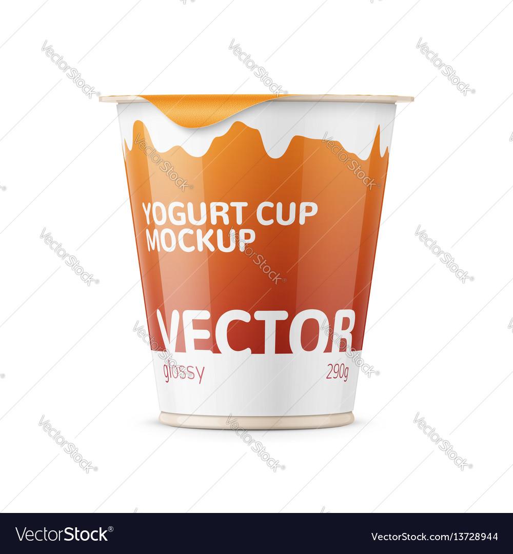 Big yogurt pot template vector image