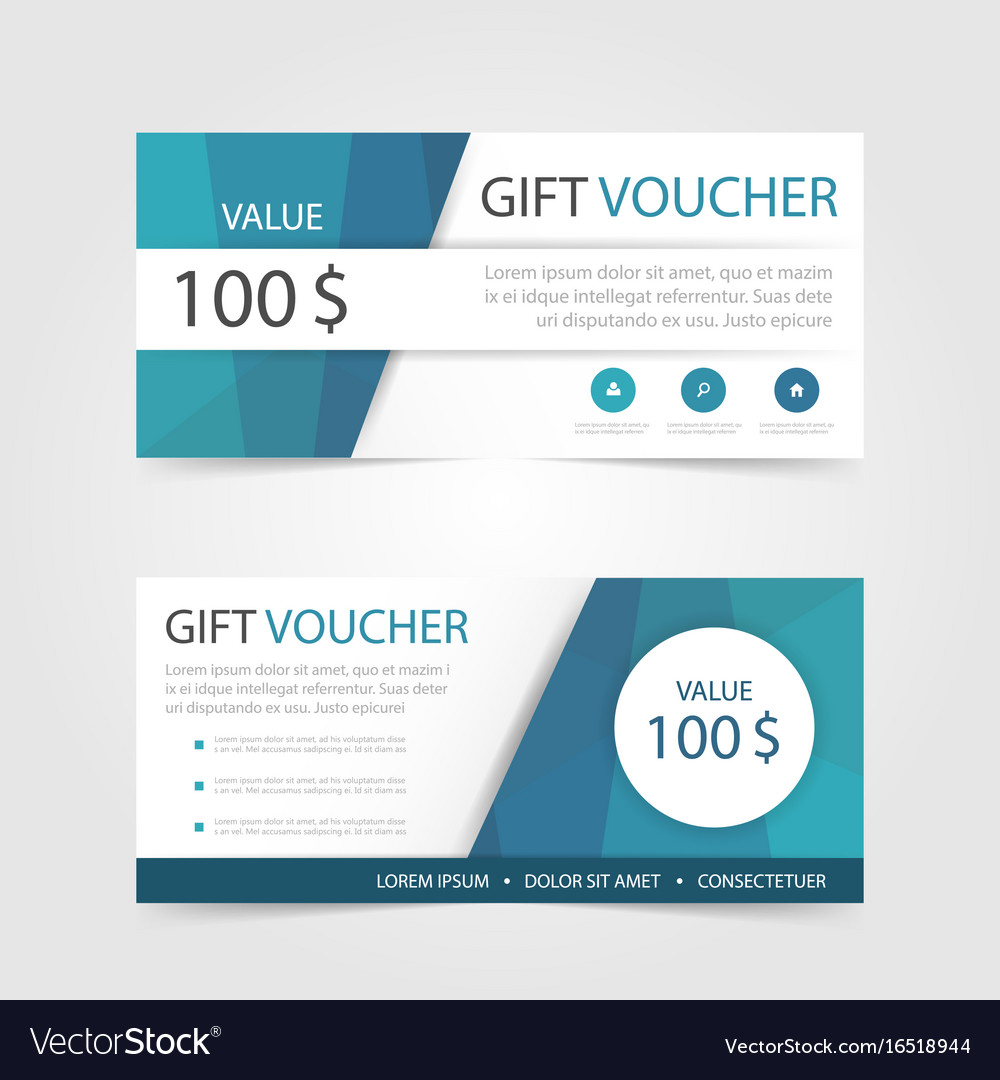 Blue polygon gift voucher template with colorful vector image