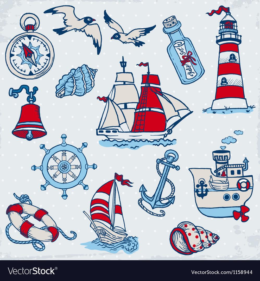 Nautical Sea Design Elements vector image