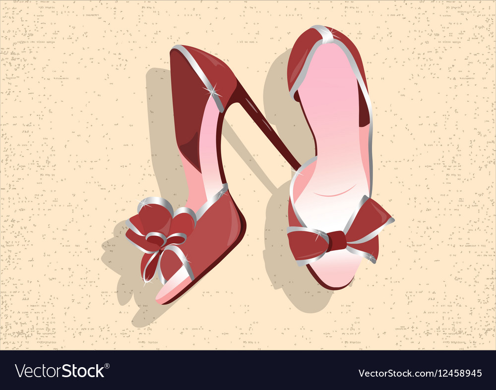 Beautiful Red shinning Shoes vector image
