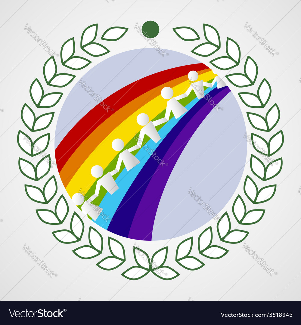 Kids on the rainbow vector image
