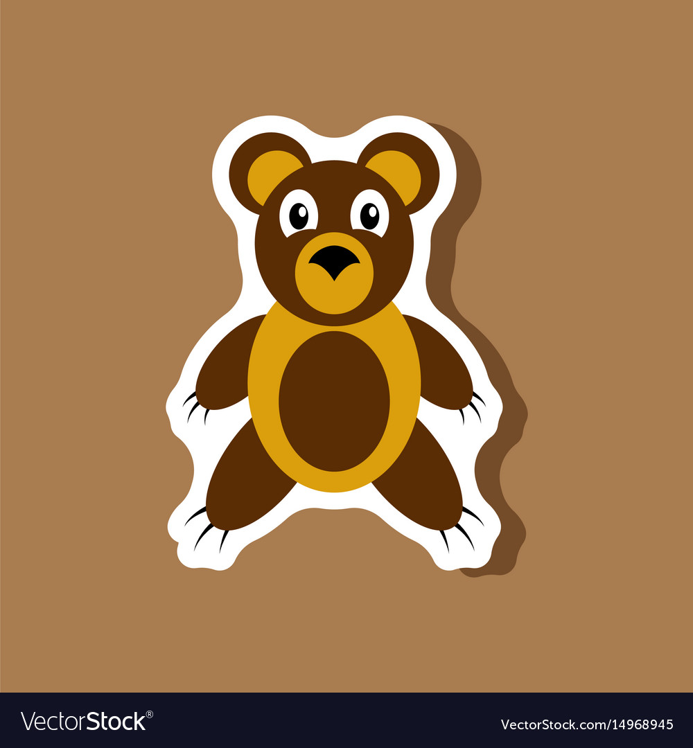 Paper sticker on stylish background toy bear vector image