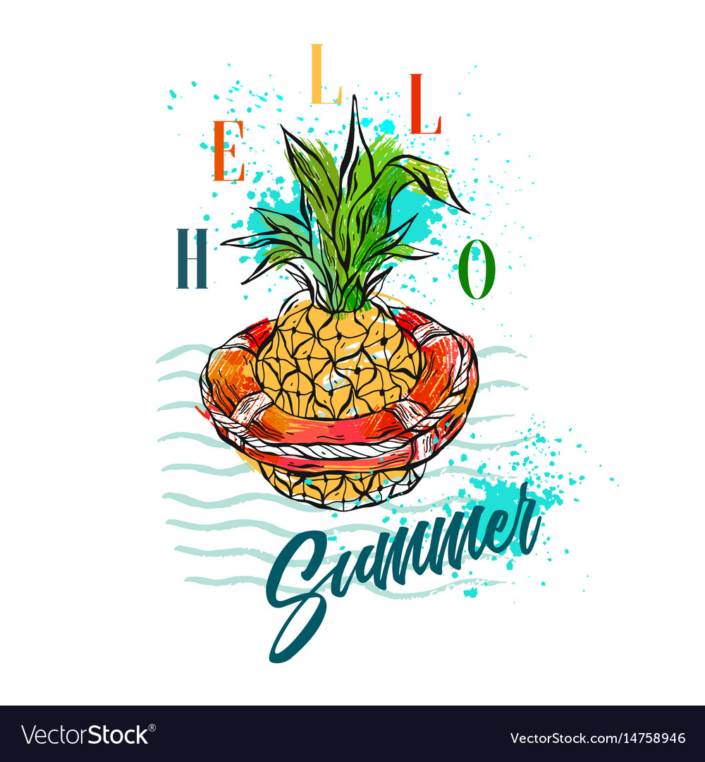Hand drawn abstract tropical vector image