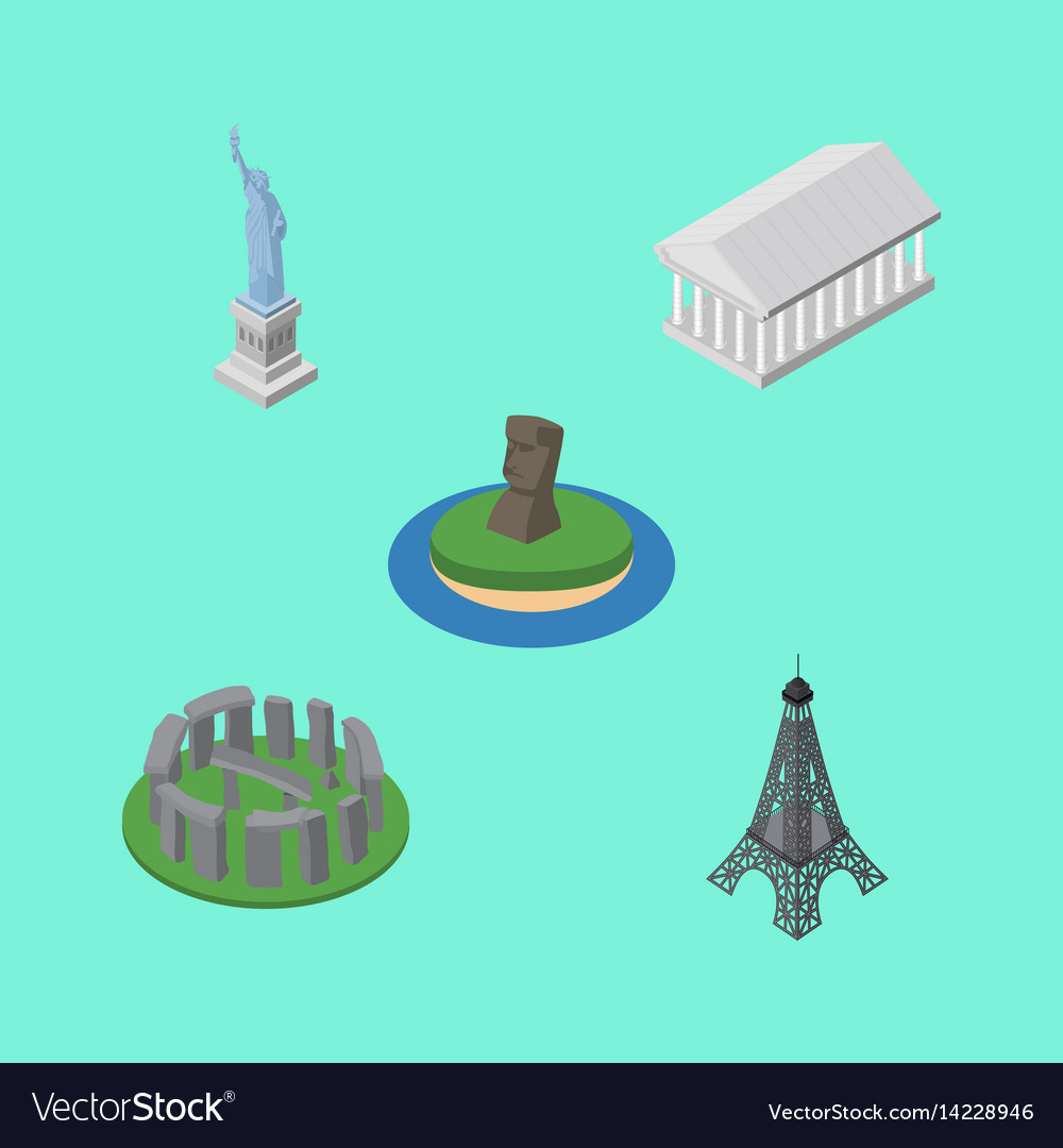 Isometric cities set of athens england new york vector image