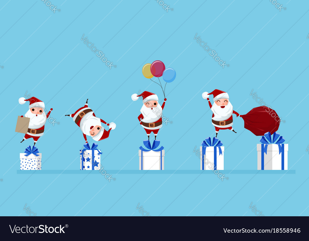 Santa claus in a variety of gestureson on gift box vector image