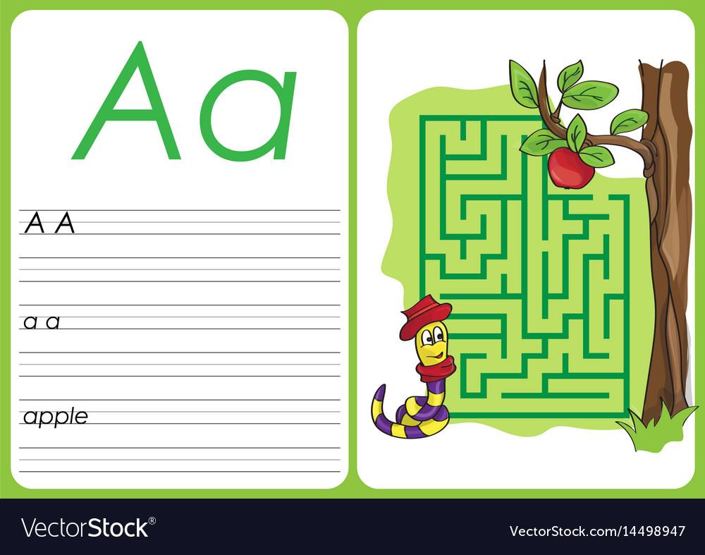 Alphabet a-z - puzzle worksheet - a - apple Vector Image