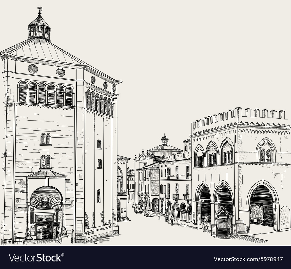 Drawing of city vector image
