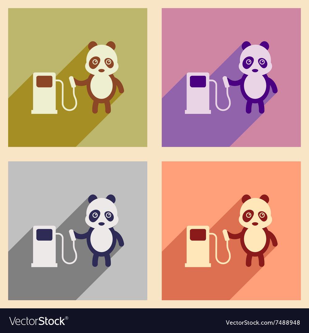 Concept flat icons with long shadow panda cartoon
