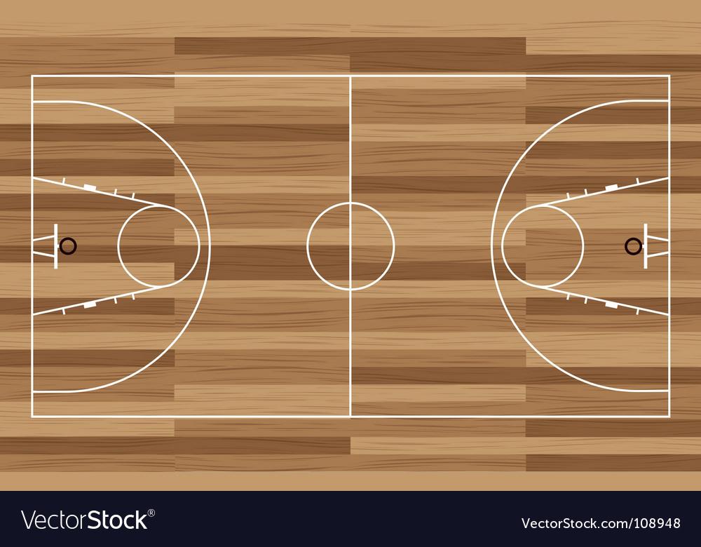 Wood basketball court vector image