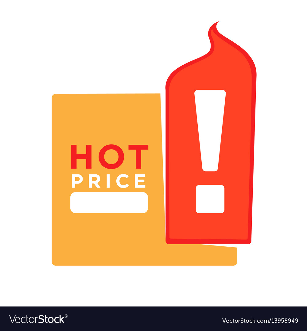 Hot price informative sticker with exclamation vector image